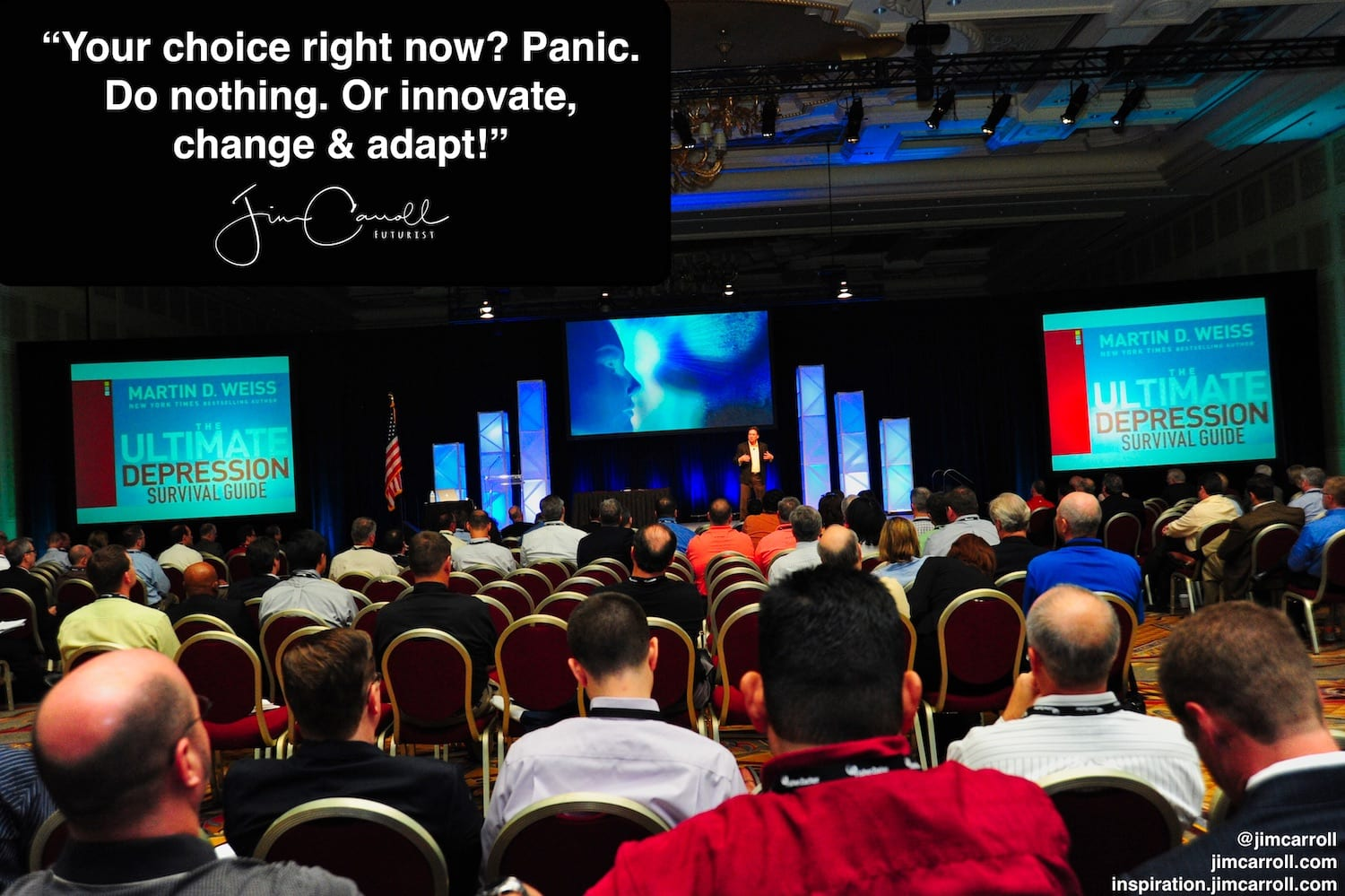 "Daily Inspiration: ""Your choice right now? Panic. Do nothing. Or innovate, change & adapt!"""