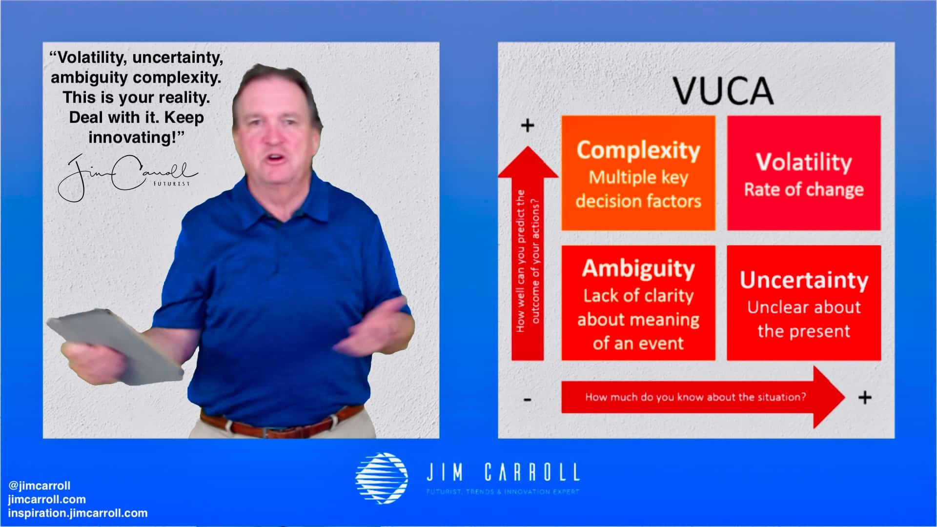 "Daily Inspiration: ""Volatility, uncertainty, complexity, ambiguity. This is your reality. Deal with it. Keep innovating!"""